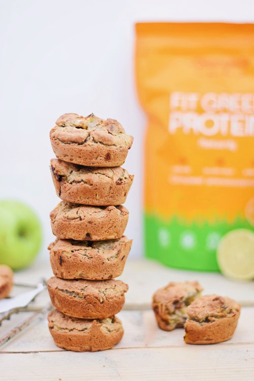 Eiwitrijke groene appel muffins