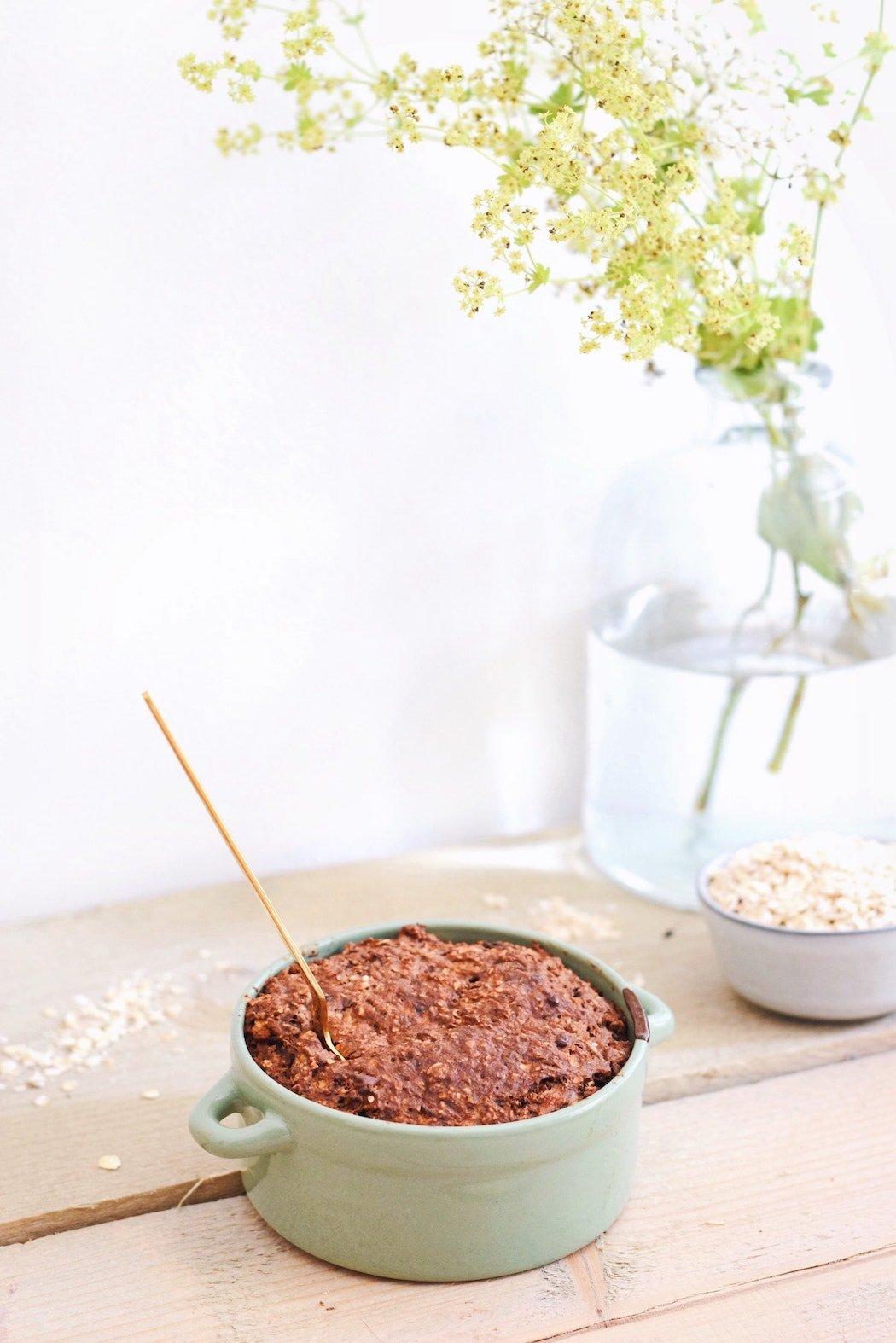 Havermout taartje met chocolade   Ontbijt recept   Healthy Wanderlust